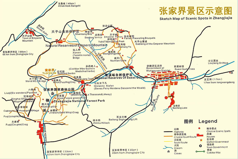 Zhangjiajie Scenic Area Map