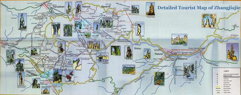 Zhangjiajie tourism Map