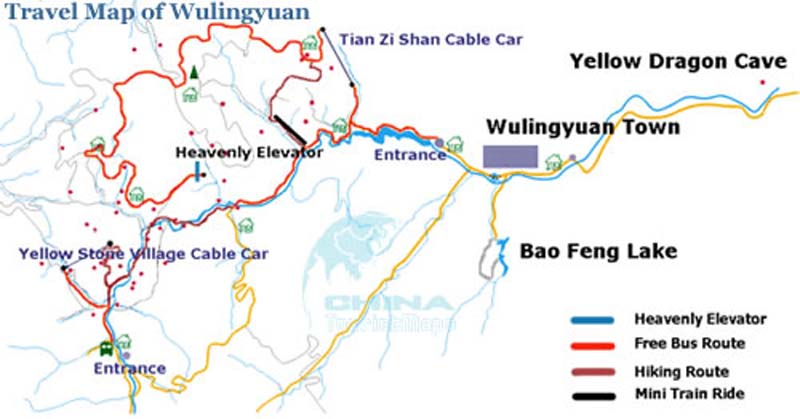 Travel map of Wulingyuan Scenic Area