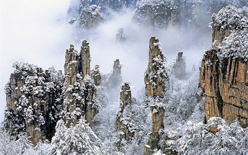 First Snow in Wulingyuan Scenic Zone in 2015