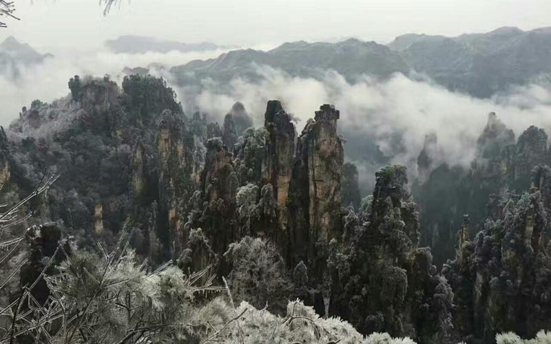 Spectacular Snow View in World Natural Heritage Wulingyuan Scenic Area.